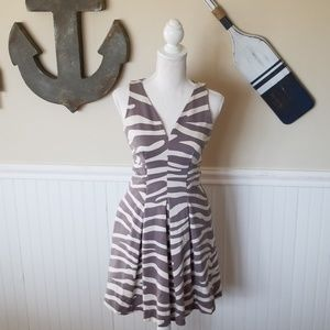 """Zebra Dress"" in gray and cream"